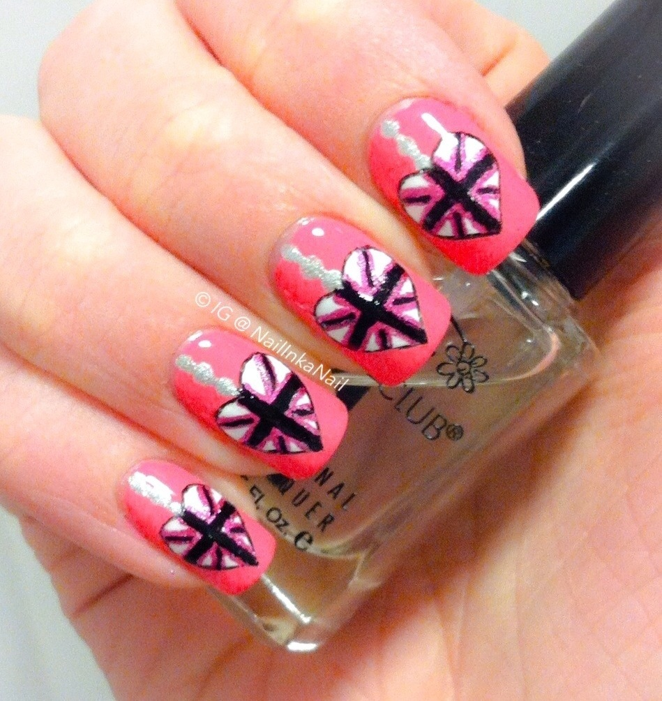Heart Nail Art: Pink Union Heart Nail Art