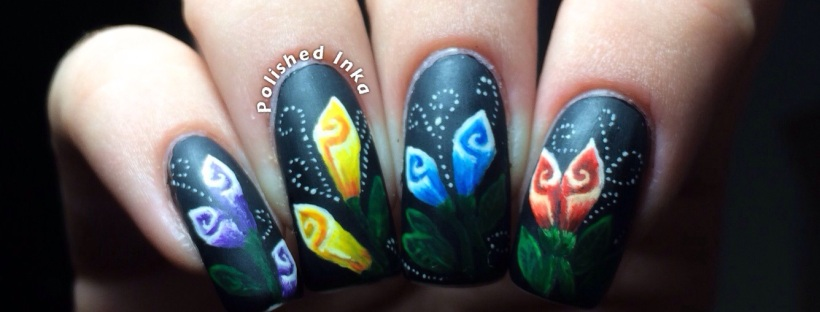 One Stroke Flower Nail Art Polished Inka
