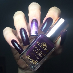 Barry M AW2015 Sunset daylight Curing Polish Plum on Baby Swatch