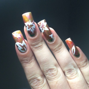 polished Inka O.P.I Color Paints Autumn Leaves Nail Art