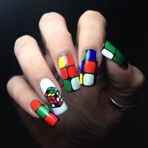 rubiks cube nail art  barry m gelly cotton