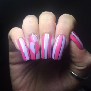stripes heart nail art models own grape juice blush pink