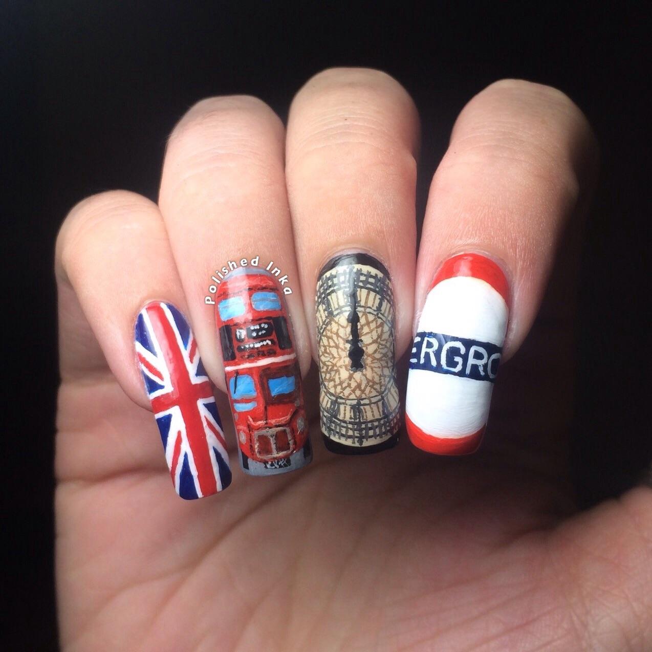 London themed nail art polished inka london nail art prinsesfo Images