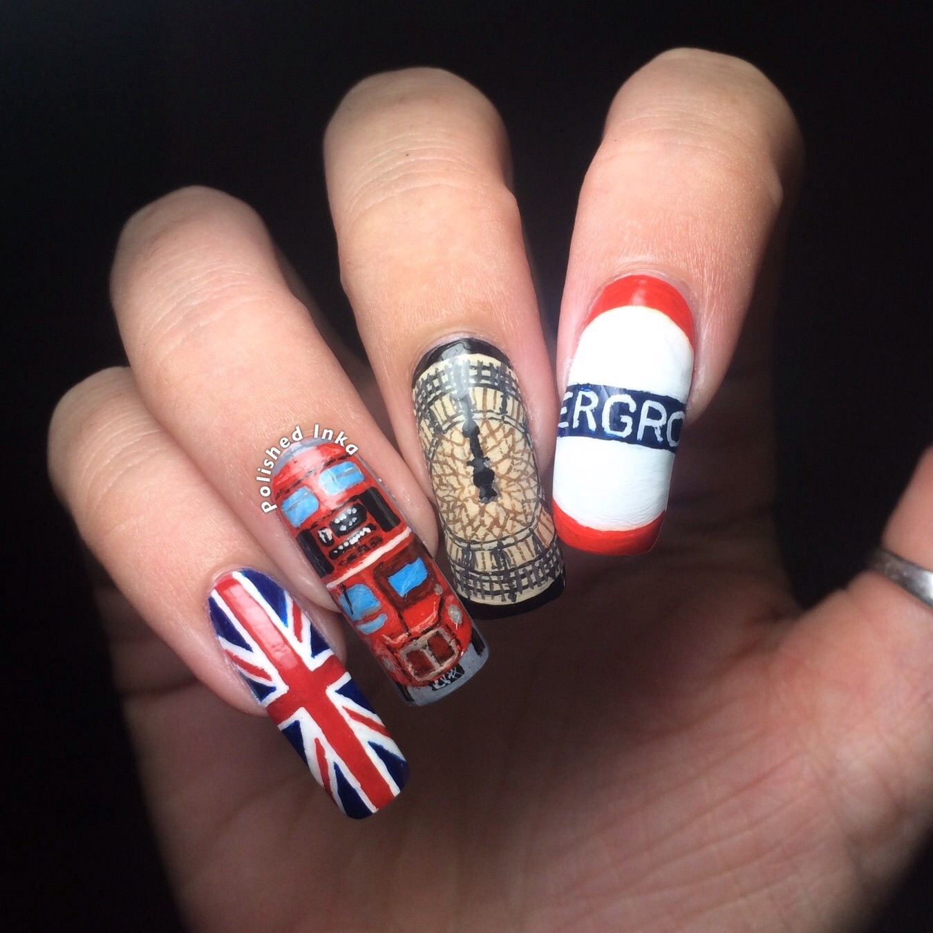 London Themed Nail Art Polished Inka