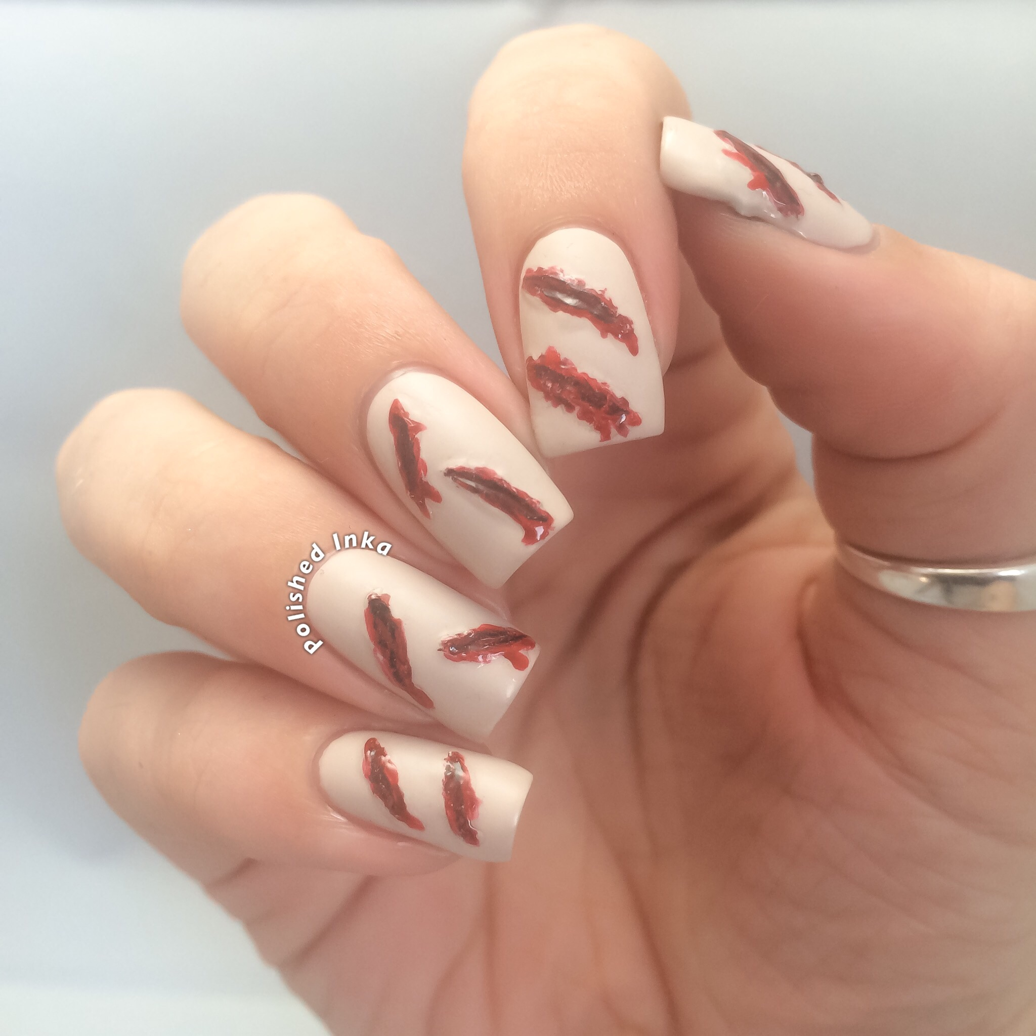 halloween cut flesh nail art