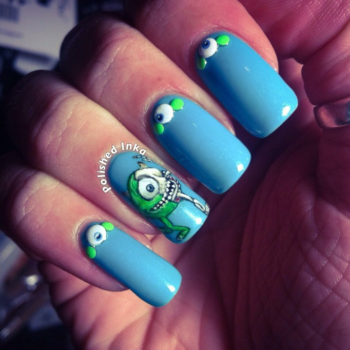 halloween mike wazowski nail art models own nail polish