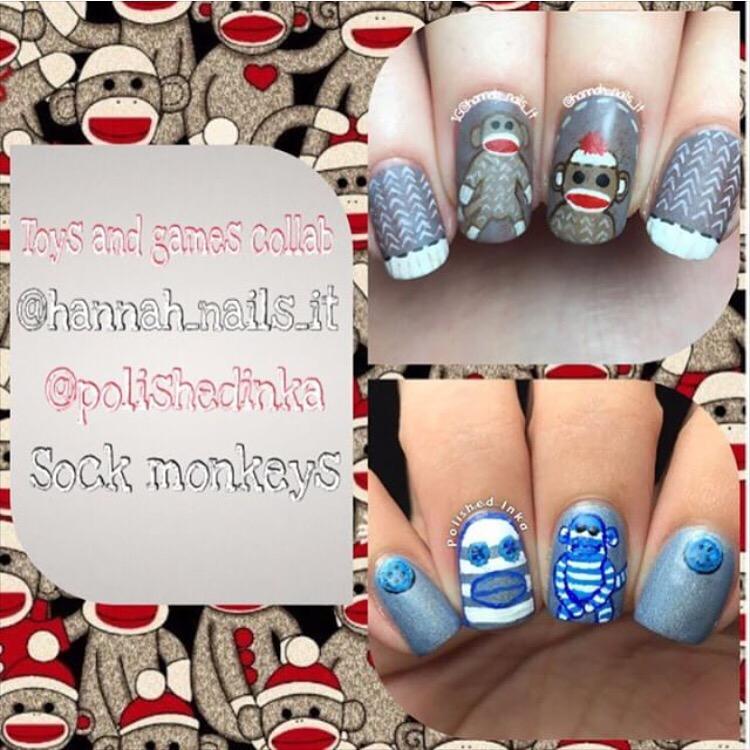 sock monkey nail art cupcake polish nails
