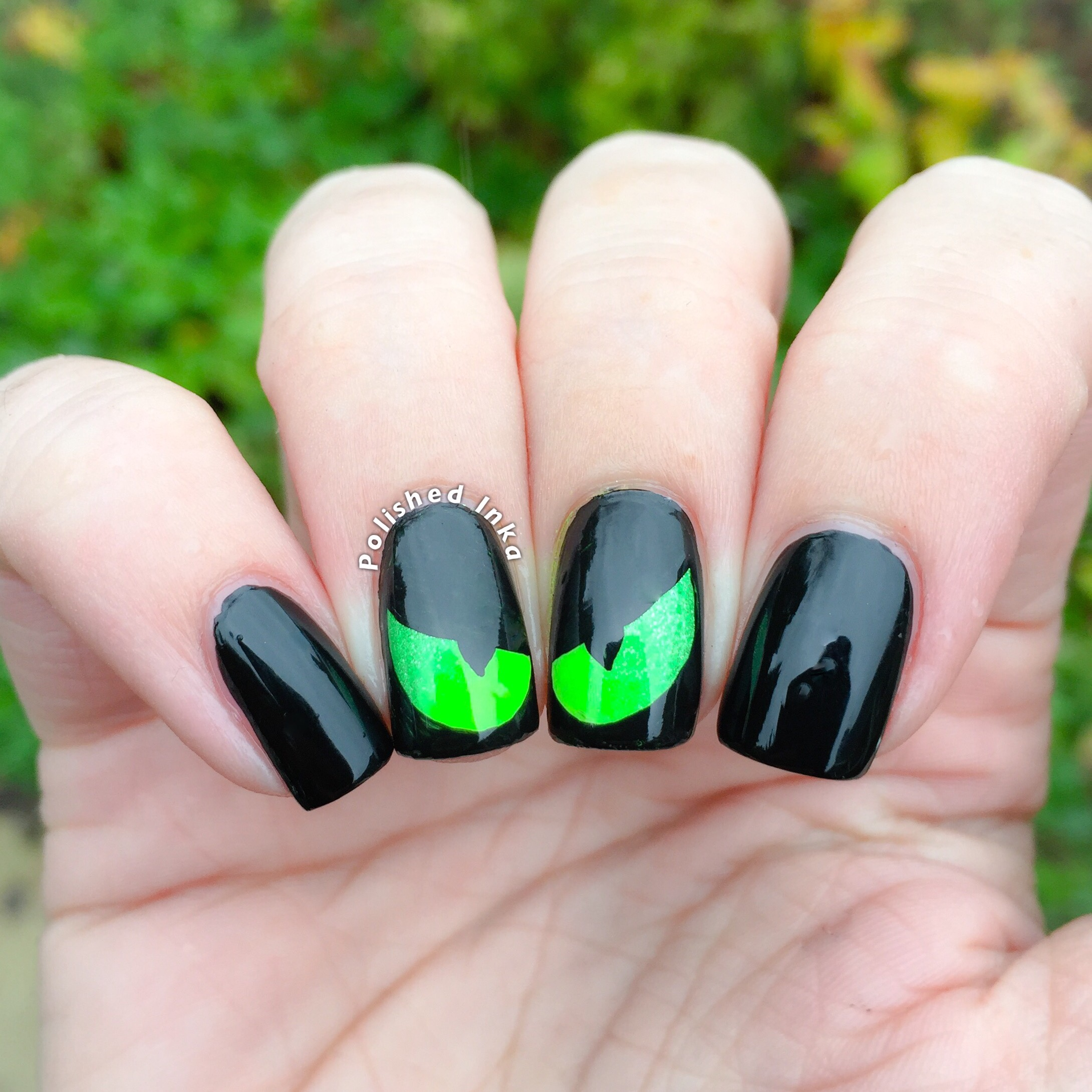 Halloween Cat Eye Nail Art \u2013 Polished Inka