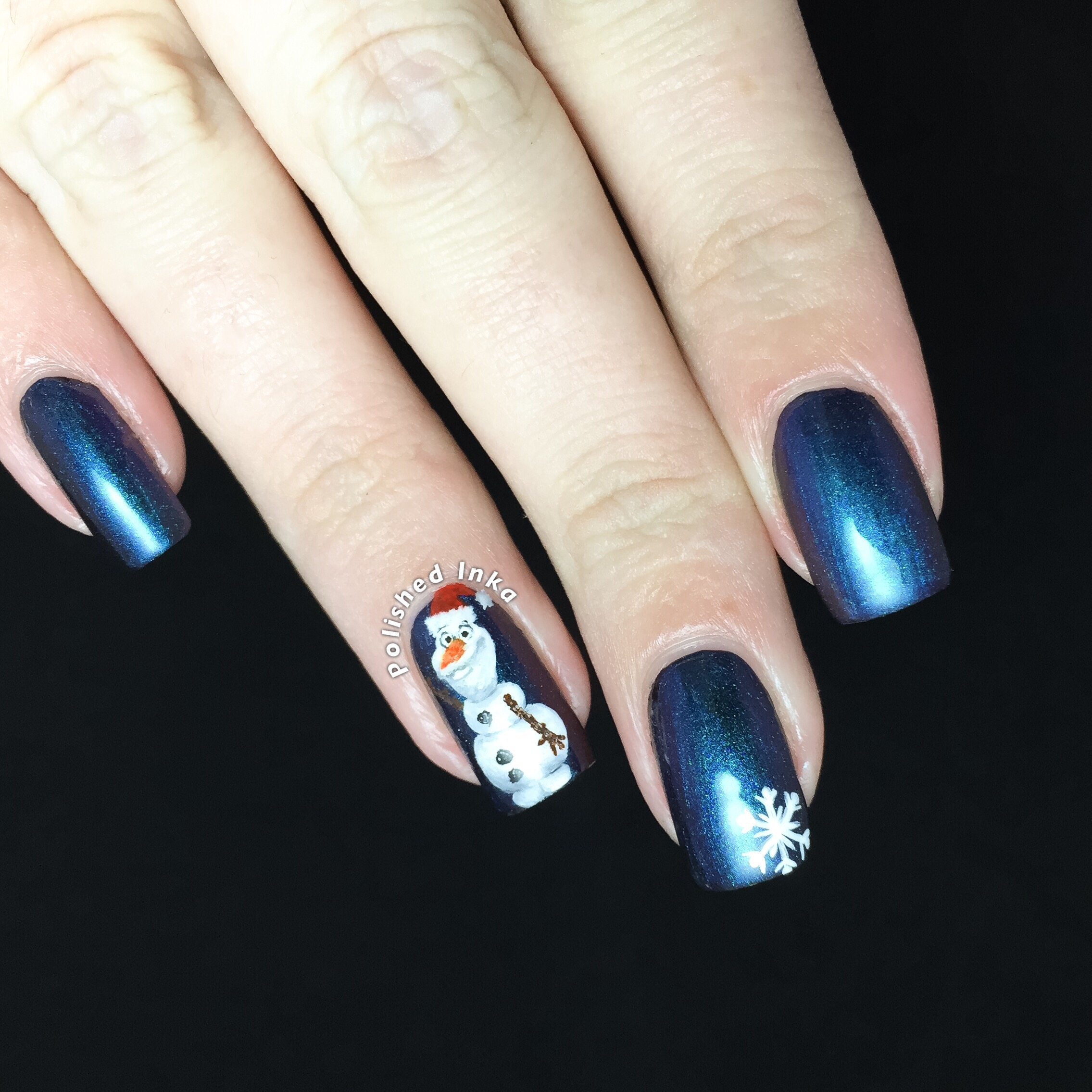 F.U.N Lacquer – Frost with Olaf Nail Art – Polished Inka