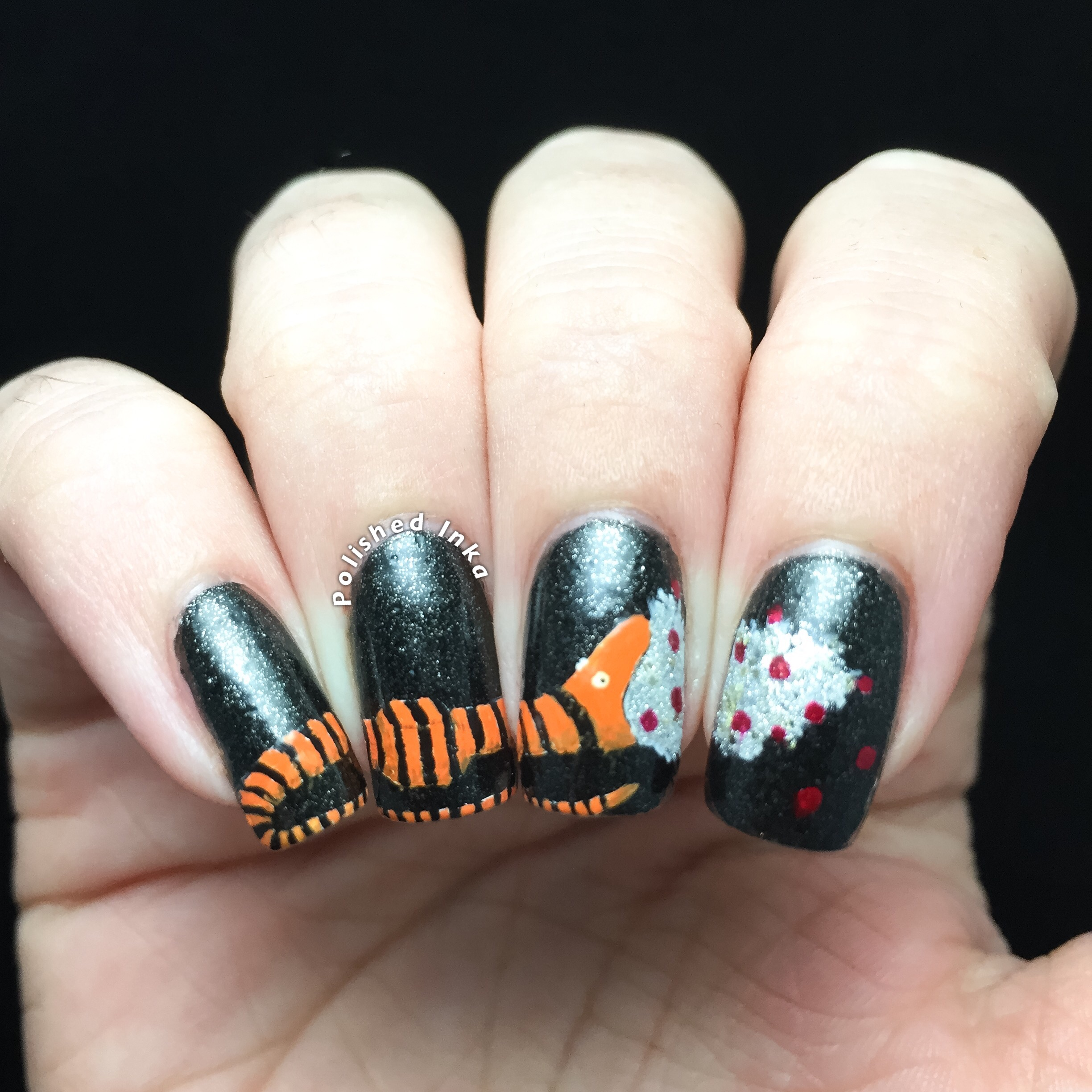 Nightmare Before Christmas Tree Eating Snake Nail Art Polished Inka