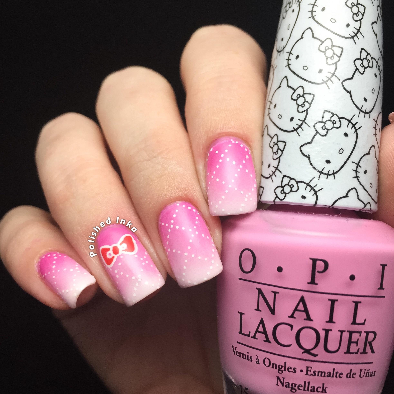 Polished Inka OPI Hello Kitty Cross Hatch Nail Art