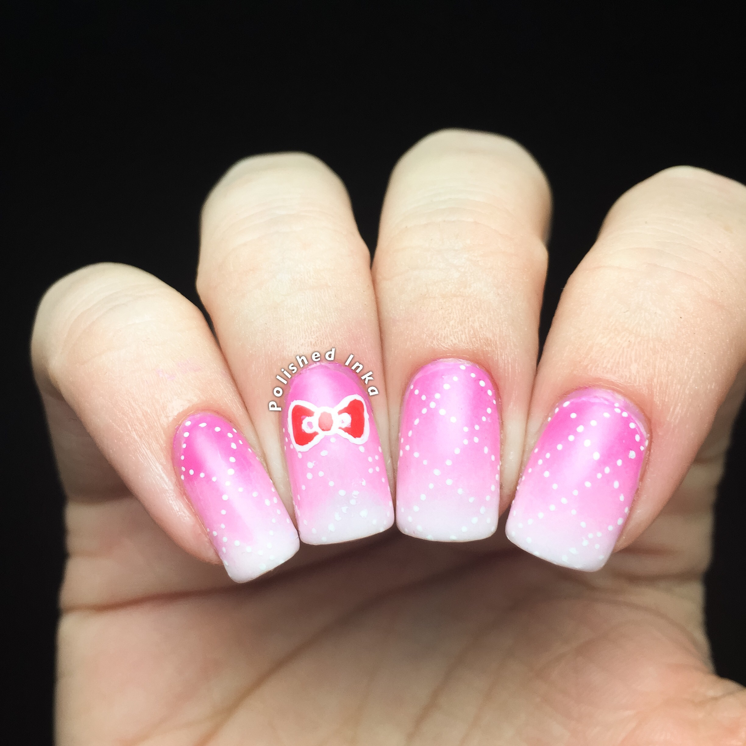 Polished Inka OPI Hello Kitty Cross Hatch Nail Art