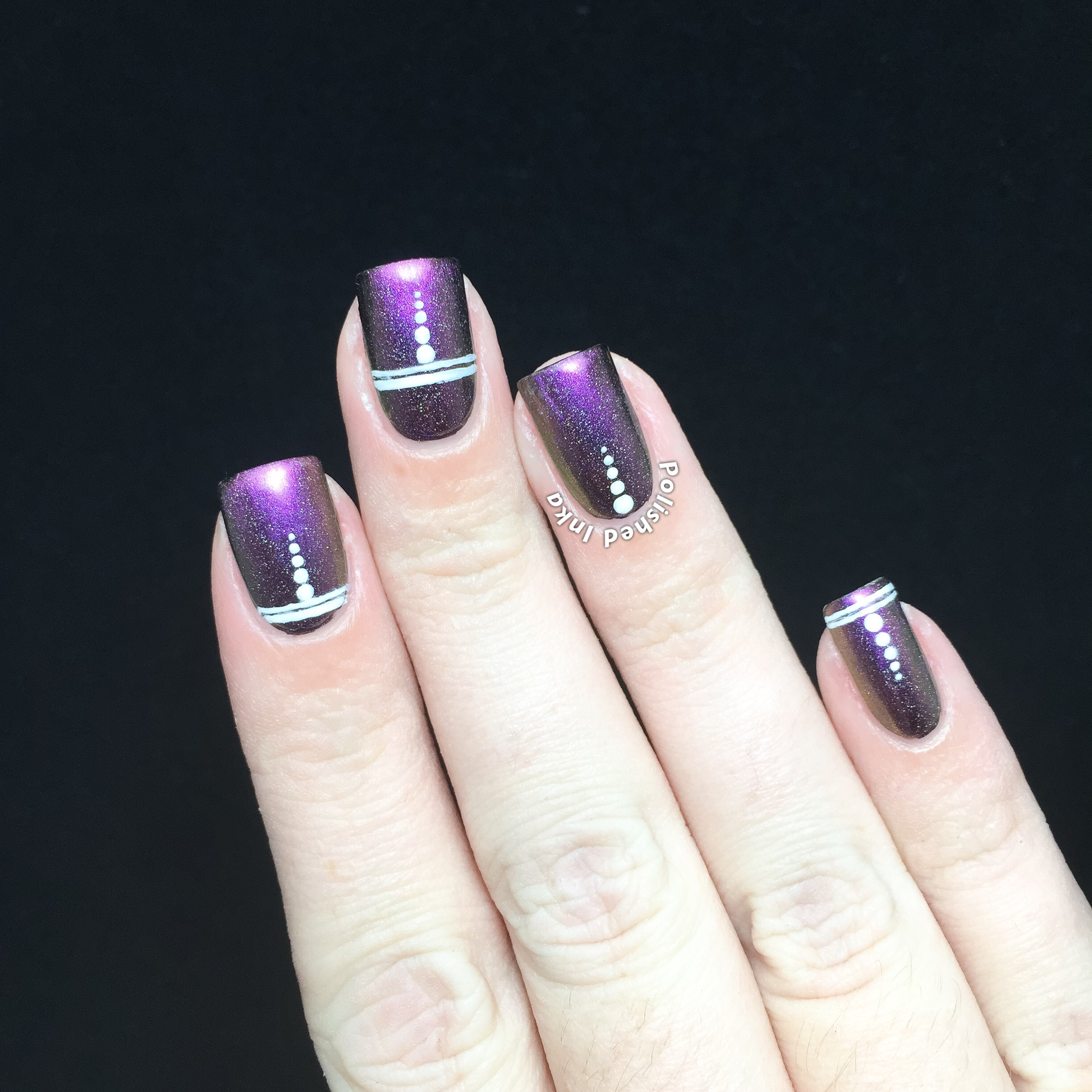 Polished Inka ILNP Cameo (H) Stripes and Dots Nail Art