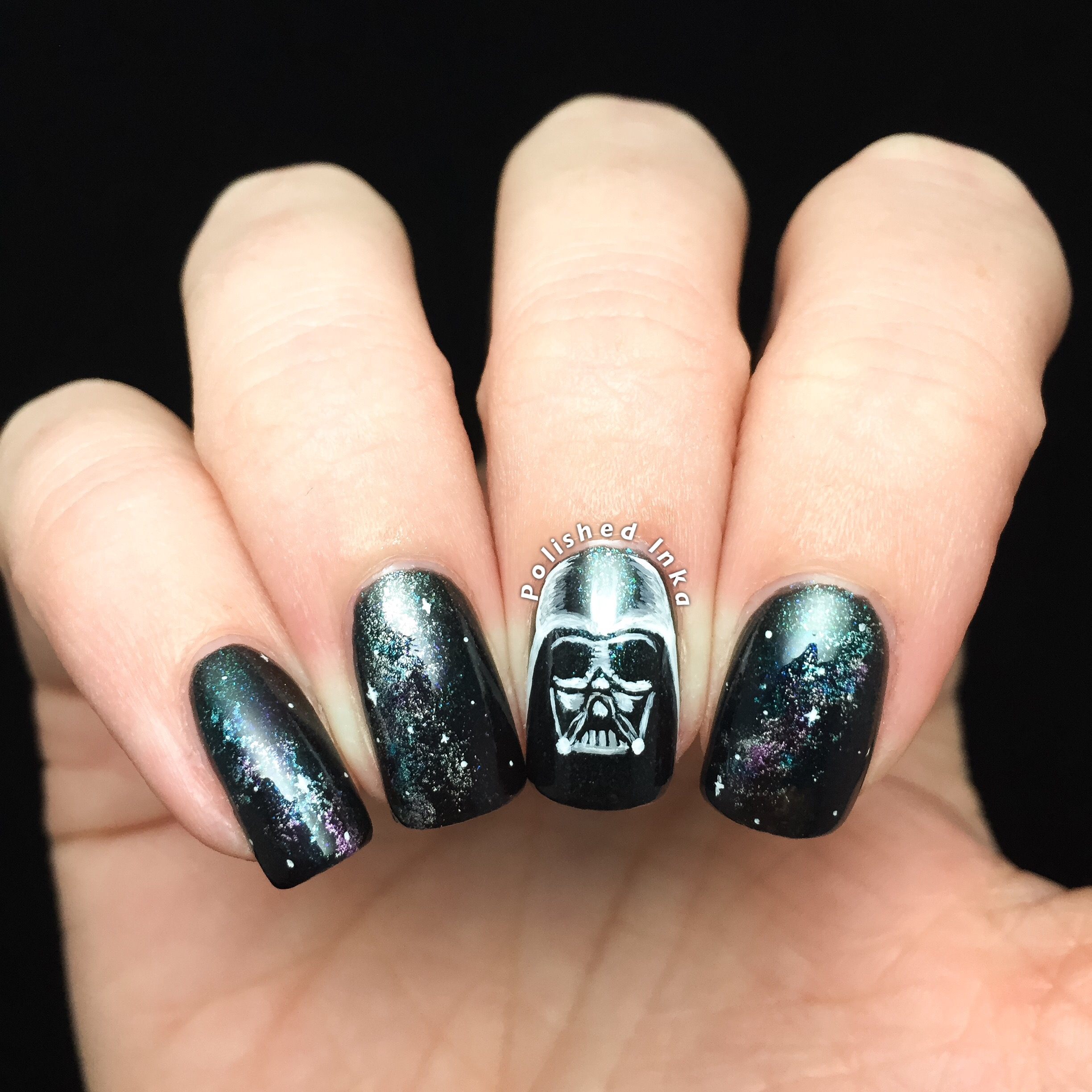 Darth Vader Galaxy Nail Art – Polished Inka