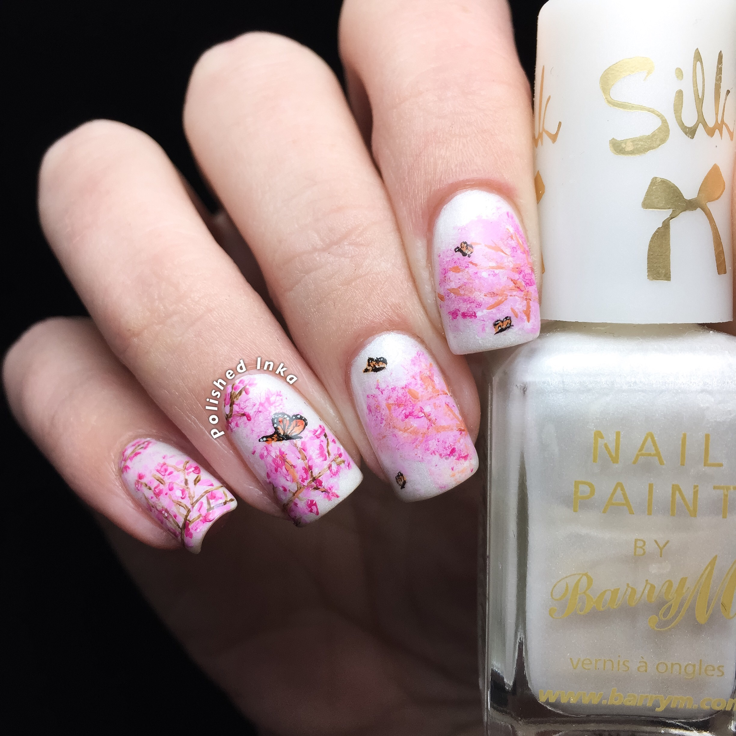 Cherry Blossom Butterfly Nail Art – Polished Inka