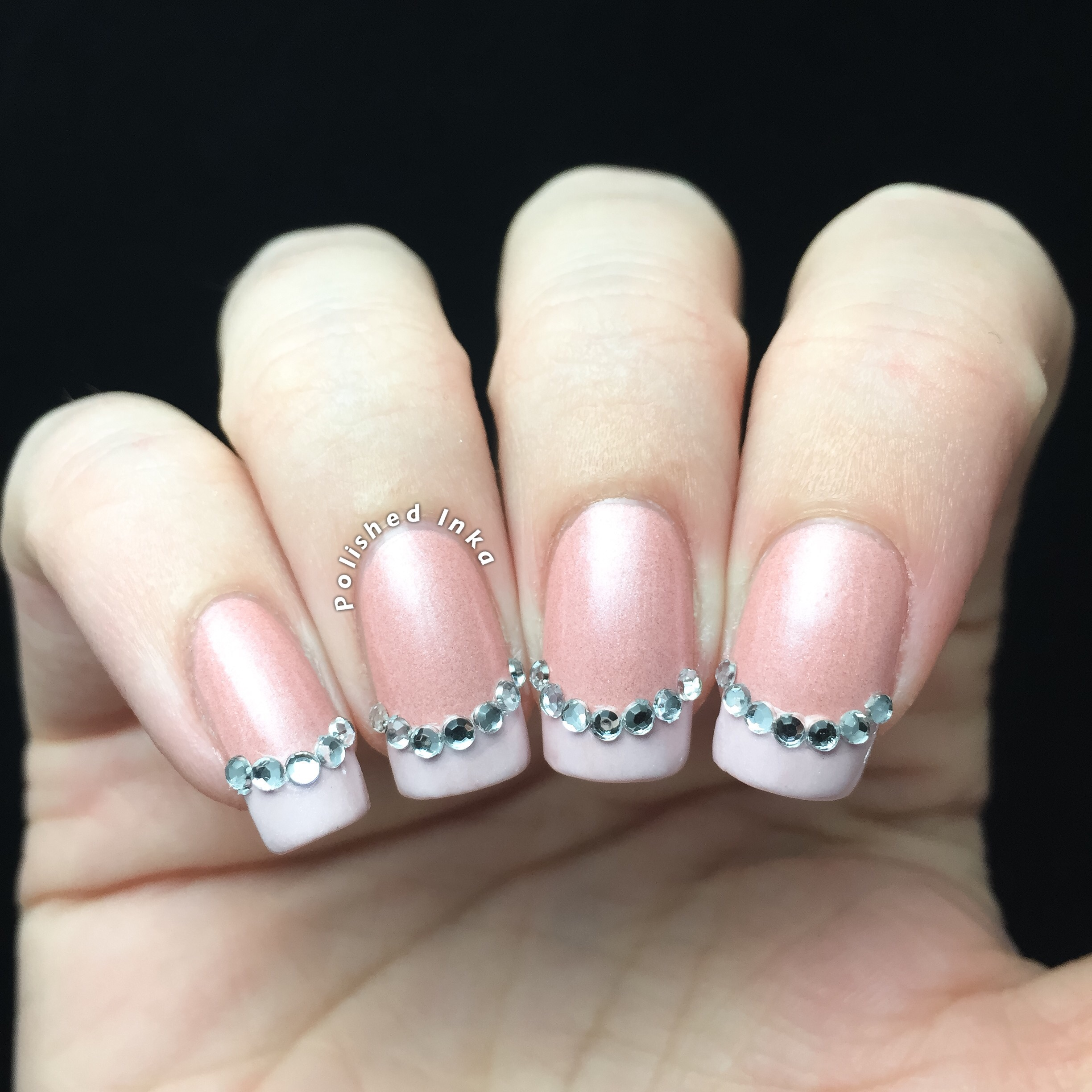 French Manicure with Rhinestones Nail Art – Polished Inka