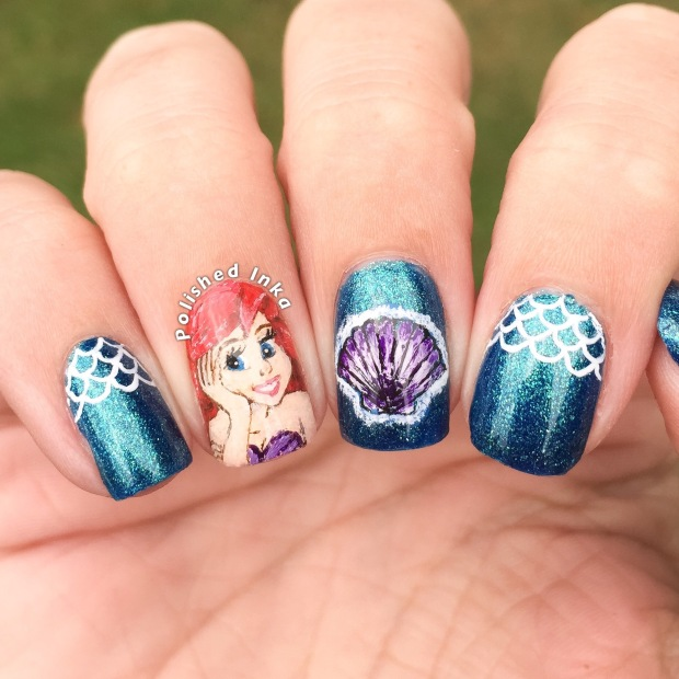 kiko pearly blue peacock disney ariel nail art