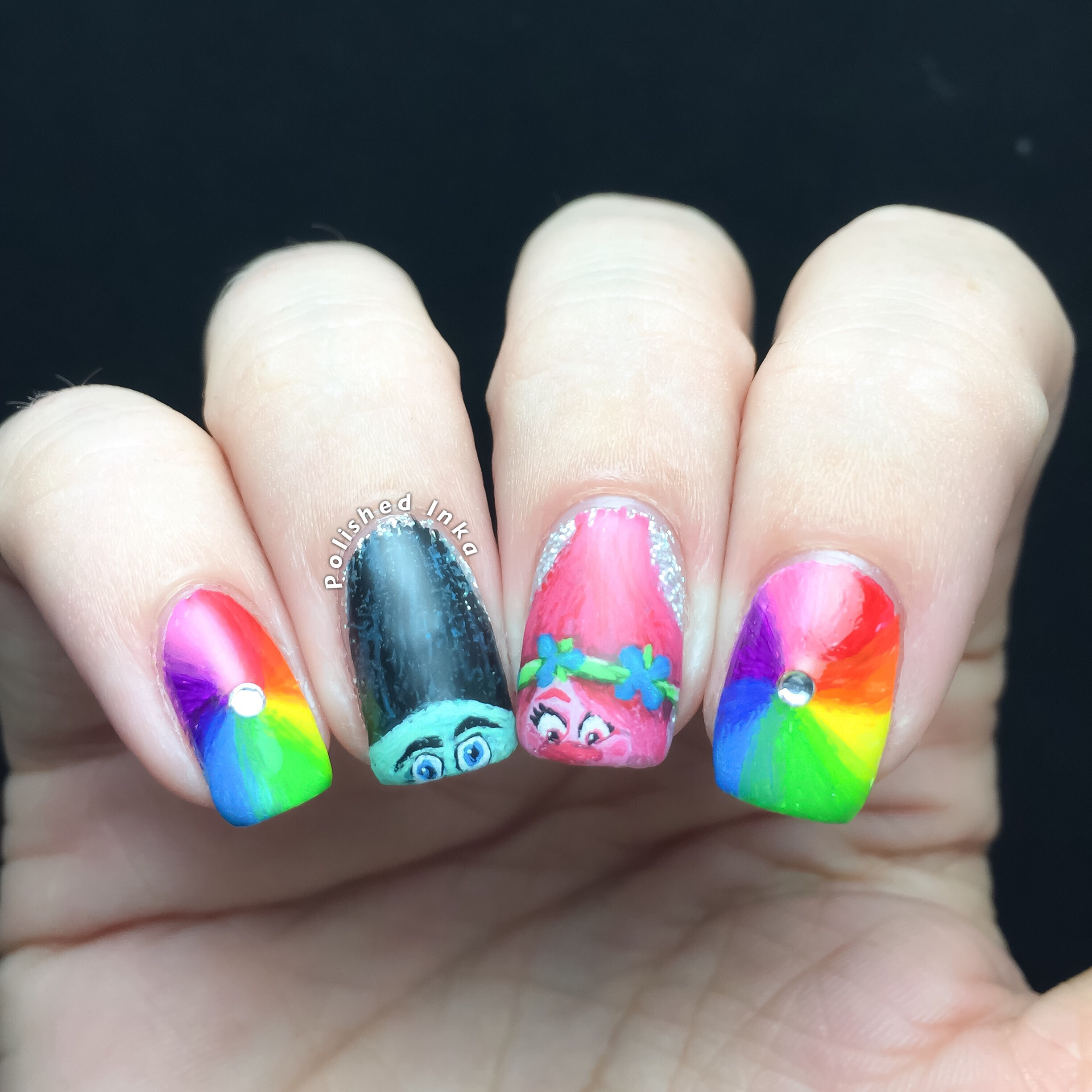 Trolls Movie Nail Art – Polished Inka